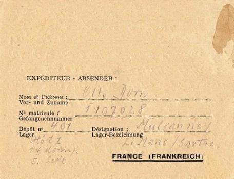 prisonnier de guerre allemand en France après 1945 Mulsanne 401
