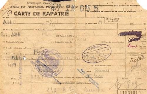 carte de rapatriés prisonniers de guerre déportés réfugiés 1945