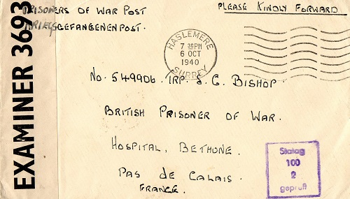 front-stalag 100 prisonnier de guerre britannique hopital Bethonne pas de calais