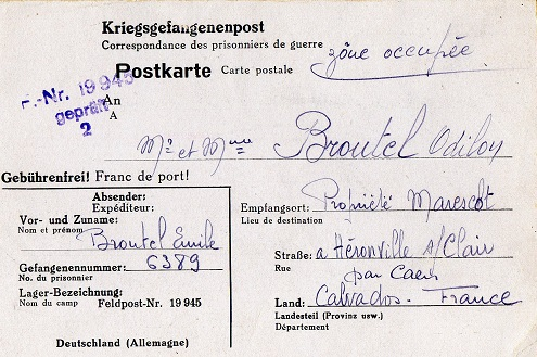 stalag avec numéro de feldpost 19945