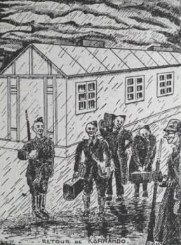 Gravure stalag retour de kommando des prisonniers de guerre