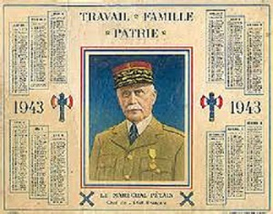 calendrier Maréchal Pétain 1943