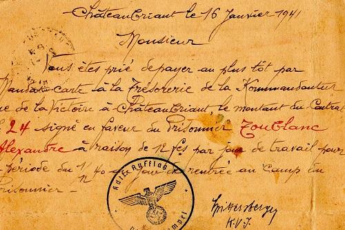 frontstalag 183 A demande de paiement de salaire d'un prisonnier français