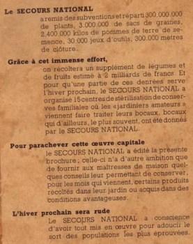le bilan du secours national