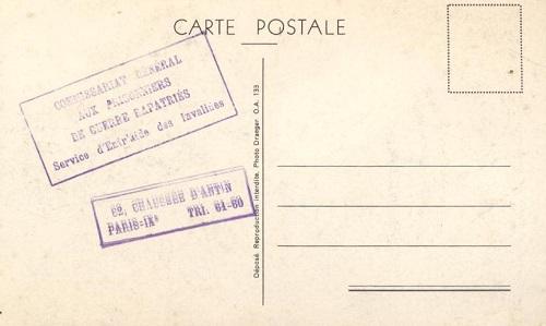 Pétain Commissariat Général aux Prisonniers de Guerre Rapatriés Service d´entr´aide des Invalides Paris