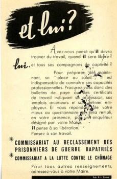 brochure du commissariat aux prisonniers de guerre rapatriés