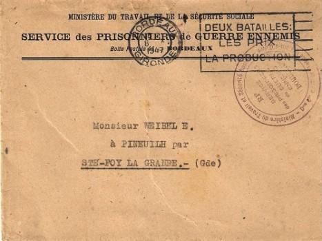 ministère du travail services des prisonniers ennemis