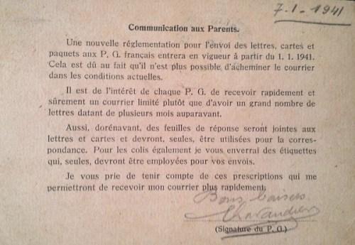 prisonniers de guerre communication concernant le courrier à partir de janvier 1941