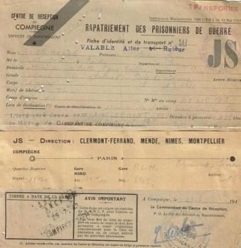 prisonniers de guerre rapatriement 1943