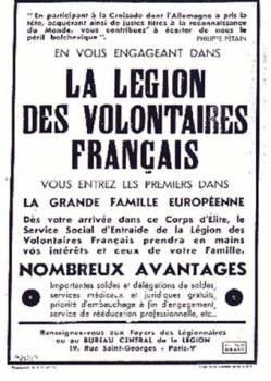 affiche de recrutement pour la légion des volontaires français