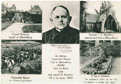 carte postale à la mémoire de l'abbé pérrot
