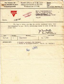 envoi de livres à un détenu civil au camp de compiègne