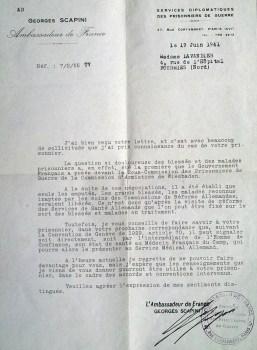 prisonniers de guerre ambassadeur Scapini répond au sujet d'une libération anticipée