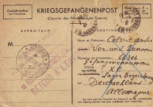 libellé non conforme sur lettre après 01 01 1941