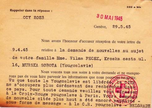 croix rouge yougoslave demande de nouvelles de famille