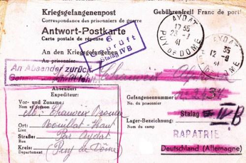 prisonniers de guerre mention rapatrié 23 01 1941