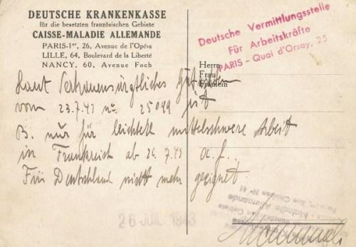 carte d'assurance maladie allemande pour STO