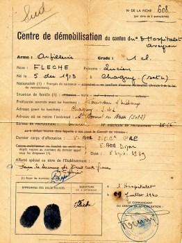fiche de démobilisation 09 07 1940