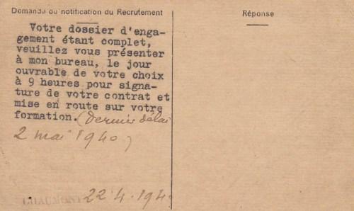 bureau de recrutement 24 04 1940