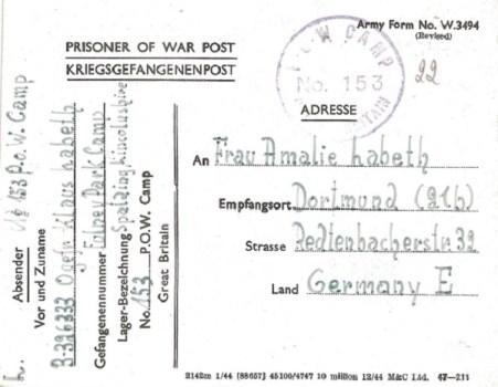 prisonniers de guerre au R.U camp 153