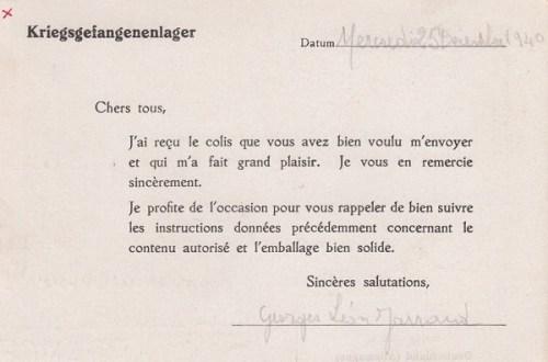 stalag VIII C carte de colis 25 12 1940