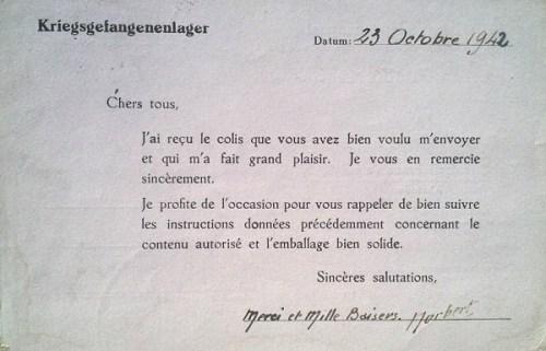 stalag VIII C carte de colis 23 10 1942