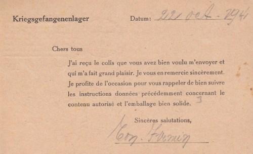 stalag VIII C carte de colis 22 10 1941