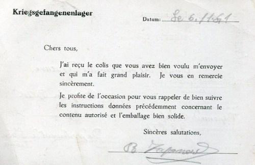 stalag VIII C carte de colis 06 11 1941