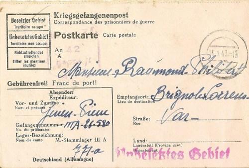 03 01 1943 carte postale prisonnier recto