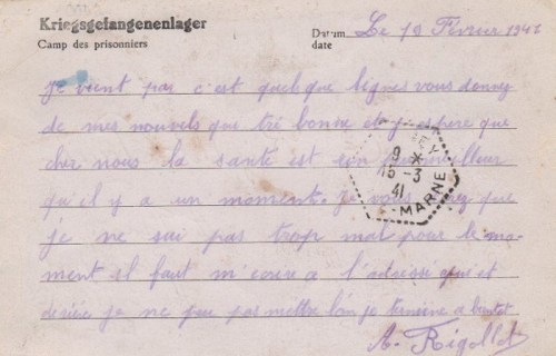 16 03 1941 stalag XII B verso