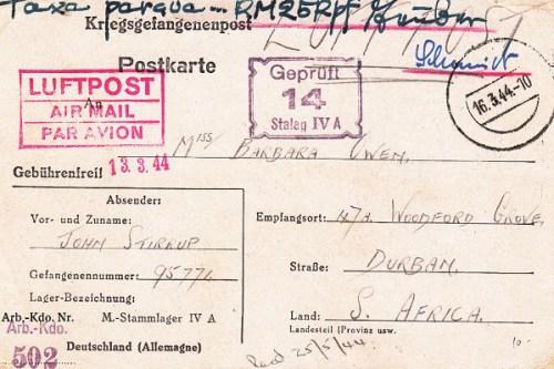 16 03 1944 stalag III A sud africain