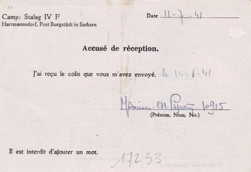 19 07 1941 stalag IV F verso