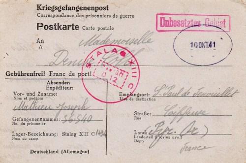 10 10 1941 stalag XIIIC recto