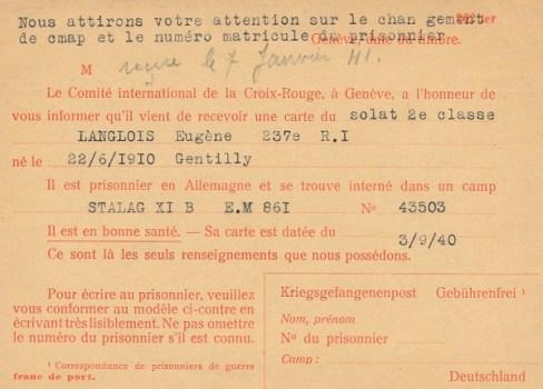 03 09 1940 changement de camp stalag IX B