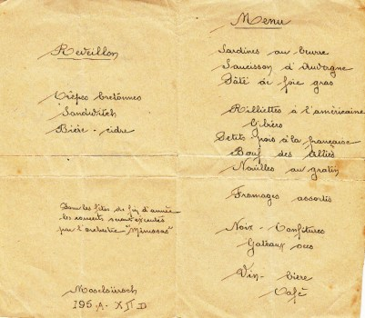 menu de noel au stalag XII D
