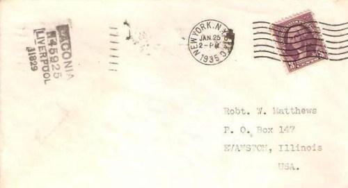 lettre du LACONIA en 1935