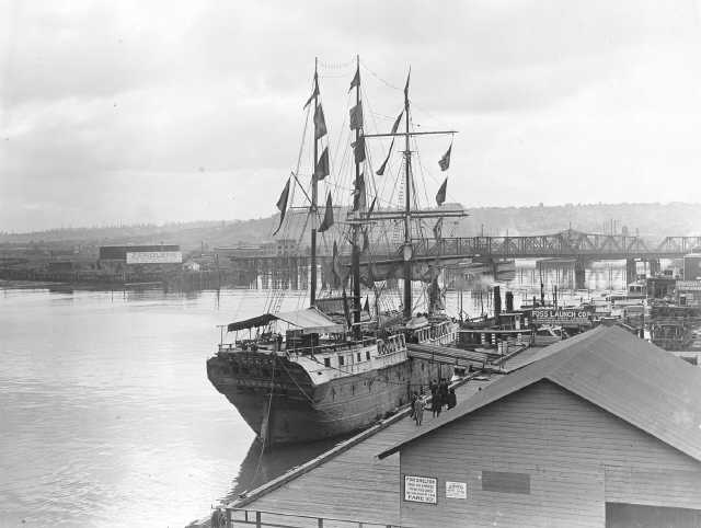 """Around 1916, the exhibition prison ship """"Success,"""" from Melbourne Australia, was docked at the Tacoma Municipal Dock Landing and open for tours. Marvin D. Boland Collection, Tacoma Public Library. Series: G50.1-103 (Unique: 31555)"""