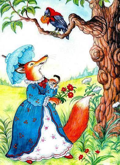 Картинки к басне ворона и лисица, ворона и лисица картинки