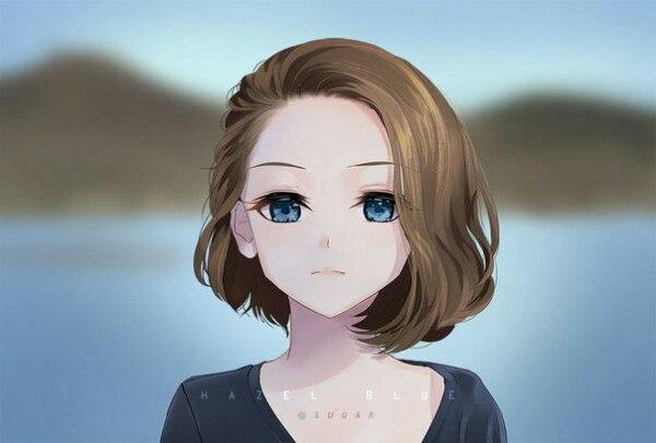 Красивые картинки девушки аниме с коричневыми волосами