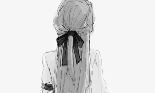 Черно-белые аниме арты девушки - подборка