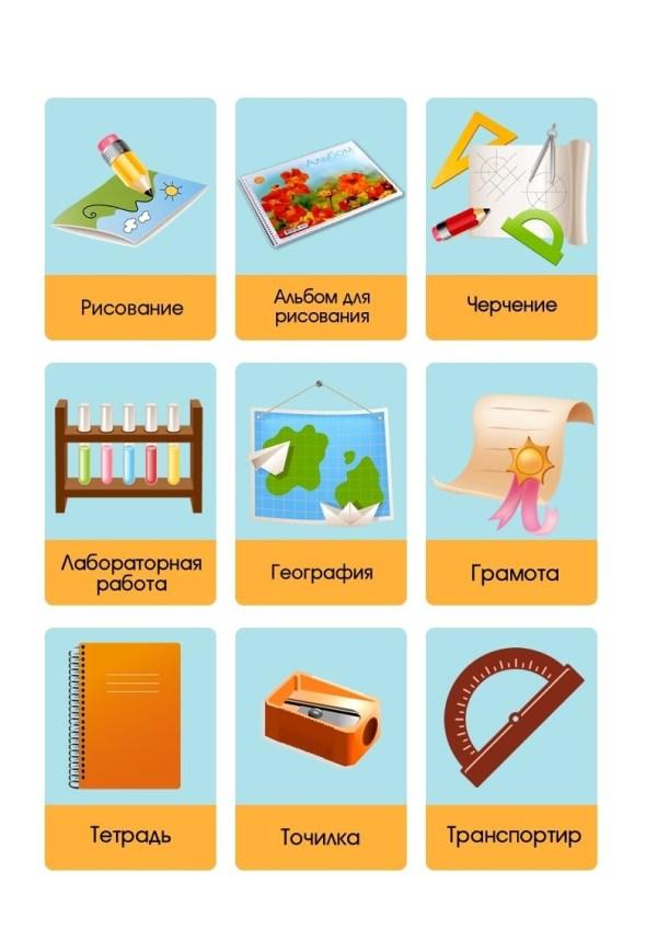 Школьные принадлежности картинки на английском для детей