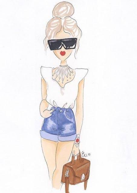 Картинки для срисовки девушки в шортах