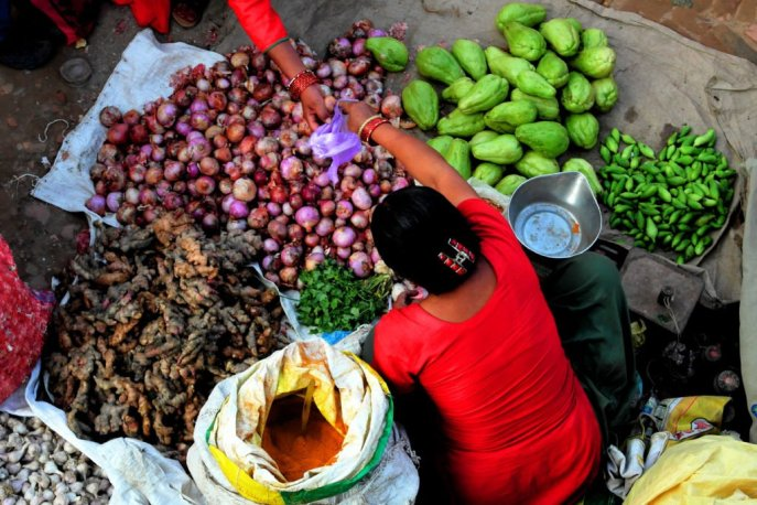 The local vegetable seller at Bhaktapur.