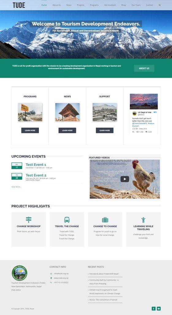 Tude website design