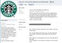 Starbucks scam page on Facebook