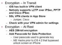 Encryption features built into the iOS