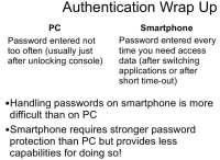 PC vs. smartphone authentication - summary