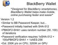 BlackBerry Wallet v1.2 features