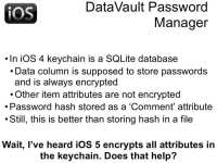 DataVault in iOS 4 environment