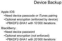 Device backup: iOS and BlackBerry
